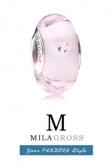 """Розовая бусина Пандора муранское стекло с кристаликами """"Сердечки"""" (серебро)"""