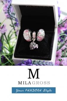 Комплект: 2 бусины Мурано + шарм подвеска корзина роз (серебро)