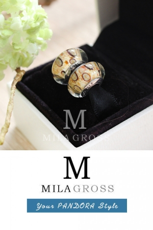 Леопардовая бусина Пандора муранское стекло (серебро)