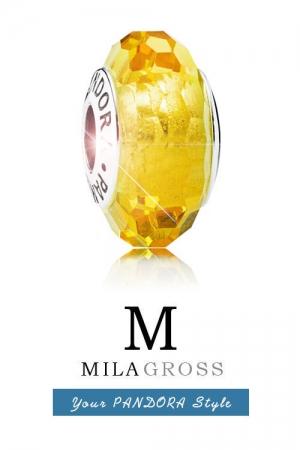 Лимонная (желтая) граненая бусина Муранское стекло (серебро)