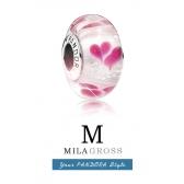 """Бусина Пандора муранское стекло """"Дикие сердца (Wild hearts)"""", серебро"""