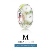 """Бусина Пандора муранское стекло """"Луговые цветы"""" (серебро)"""