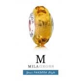 Медовая граненая бусина Пандора муранское стекло (серебро)