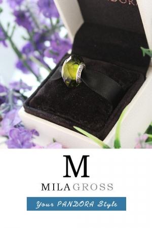 Оливковая граненая бусина Пандора муранское стекло (серебро)