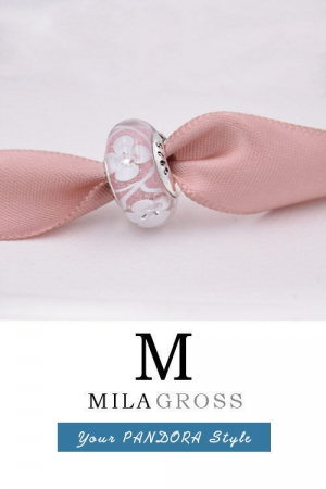 "Бусина мурано ""Поле цветов, розовое"" (Pink field of flowers), серебро"