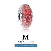 "Бусина Пандора мурано (серебро) летняя коллекция ""Красное мерцание"""