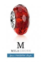 Красная граненая бусина Пандора муранское стекло (серебро)