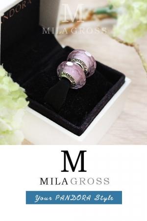 "Бусина Пандора мурано (серебро 925) летняя коллекция ""Розовое мерцание""."