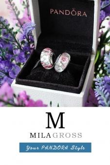 Бусина Пандора серебро розовые цветы из муранского стекла.