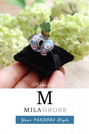 Бусина Пандора муранское стекло Сакура Blue (лимитированная серия, серебро)