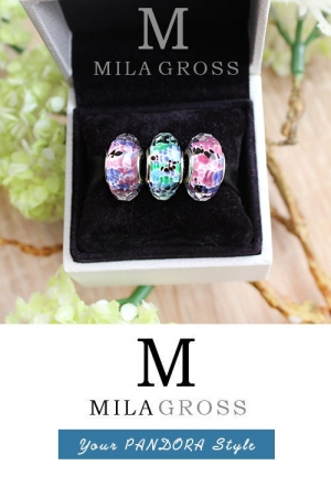 "Пандора мурано ""Тропическое море (Tropical Sea Glass Murano), серебро"