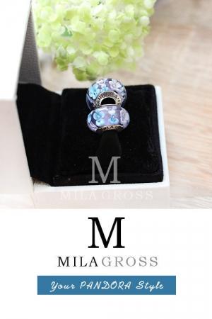Бусина Пандора муранское стекло Сиреневые цветы (серебро)