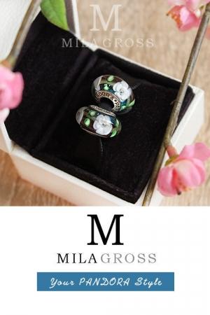 Бусина Пандора мурано Сказочные лианы (серебро)