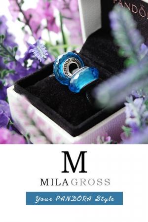 Голубая граненая бусина Пандора мурано (серебро)