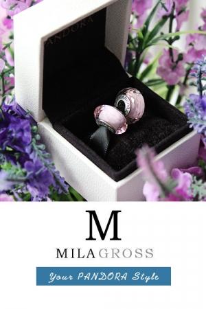 Розовая граненая бусина Пандора муранское стекло (серебро)