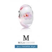 """Бусина Пандора муранское стекло серебро из летней коллекции """"Цветок вишни"""""""
