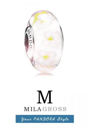 Бусина Пандора серебро светло желтые цветы Муранское стекло