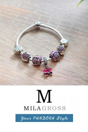 Шарм бусина розовые маргаритки в темном серебре