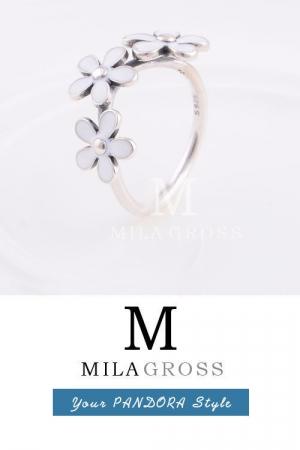 """Кольцо Pandora весенняя коллекция """"Три белых ромашки"""" (серебро)"""