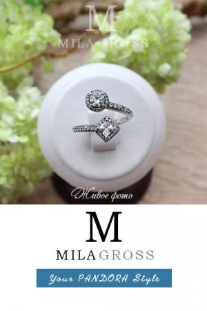 """Эксклюзивное кольцо Pandora """"Abstract Elegance"""" (Абстрактная элегантность), серебро"""