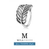"""Серебряное кольцо Пандора """"Перо"""" (Сверкающие перья, Feather Ring), серебро"""