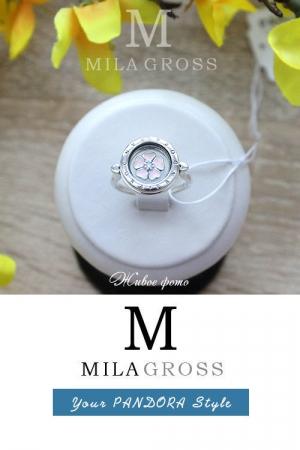 """Локет-кольцо Pandora """"Розовая примула"""" (Floating Locket Ring), серебро"""
