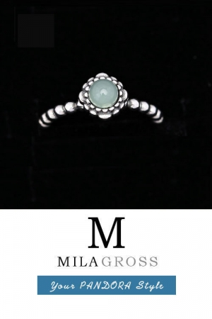 "Кольцо Pandora ""Талисман марта"" (birthstone March Jade), серебро"