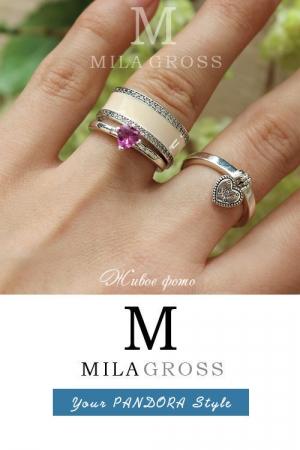 """Кольцо Пандора """"Перламутровые сердца"""", розовый (серебро)"""