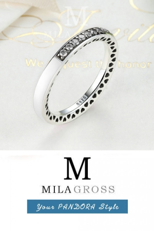 "Серебряное кольцо Pandora ""White Radiant Hearts"" (серебро, эмаль, цирконий)"