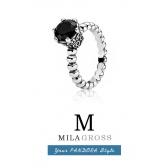 """Кольцо из коллекции Pandora retired """"Черная шпинель"""" (серебро)"""