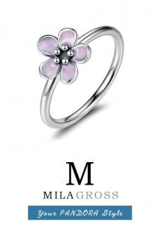 """Кольцо Pandora весенняя коллекция """"Цветок с розовой эмалью"""" (серебро)"""