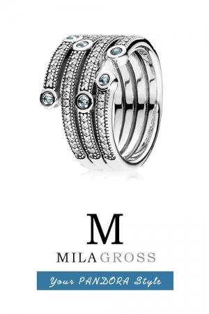 "Кольцо Пандора ""Сверкающий океан"" (Shimmering ocean), серебро"
