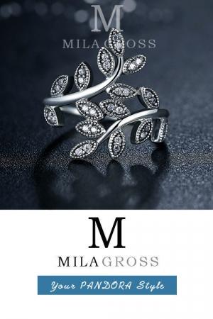 """Кольцо Пандора """"Сверкающие листья"""" (Sparkling Leaf Entwine Ring), серебро"""