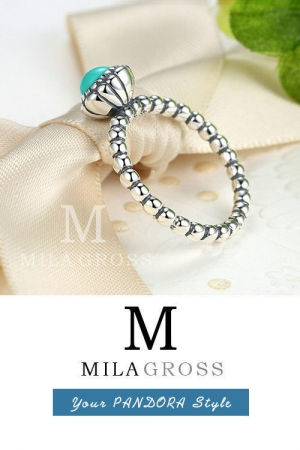 "Кольцо из коллекции Pandora талисманы ""Талисман с бирюзой"" (серебро)"
