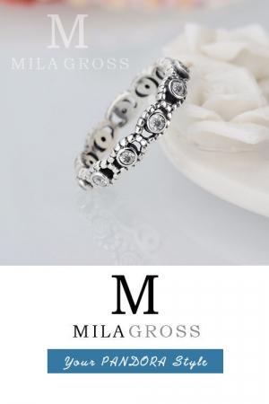 """Серебряное кольцо Pandora """"Ее величество"""" (серебро, белые камни)"""