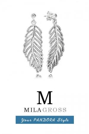 """Серьги Pandora """"Сверкающие перья"""" Shimmering Feathers Earrings (серебро)"""