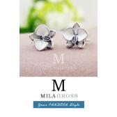 """Серьги Пандора """"Белая орхидея"""" (White Orchid), новая коллекция (серебро)"""