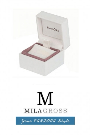 Фирменная коробочка для шармов Pandora белая с розовым (5 см * 5 см)