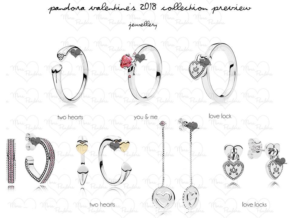 Кольца и серьги Пандора новая коллекция День Св. Валентина